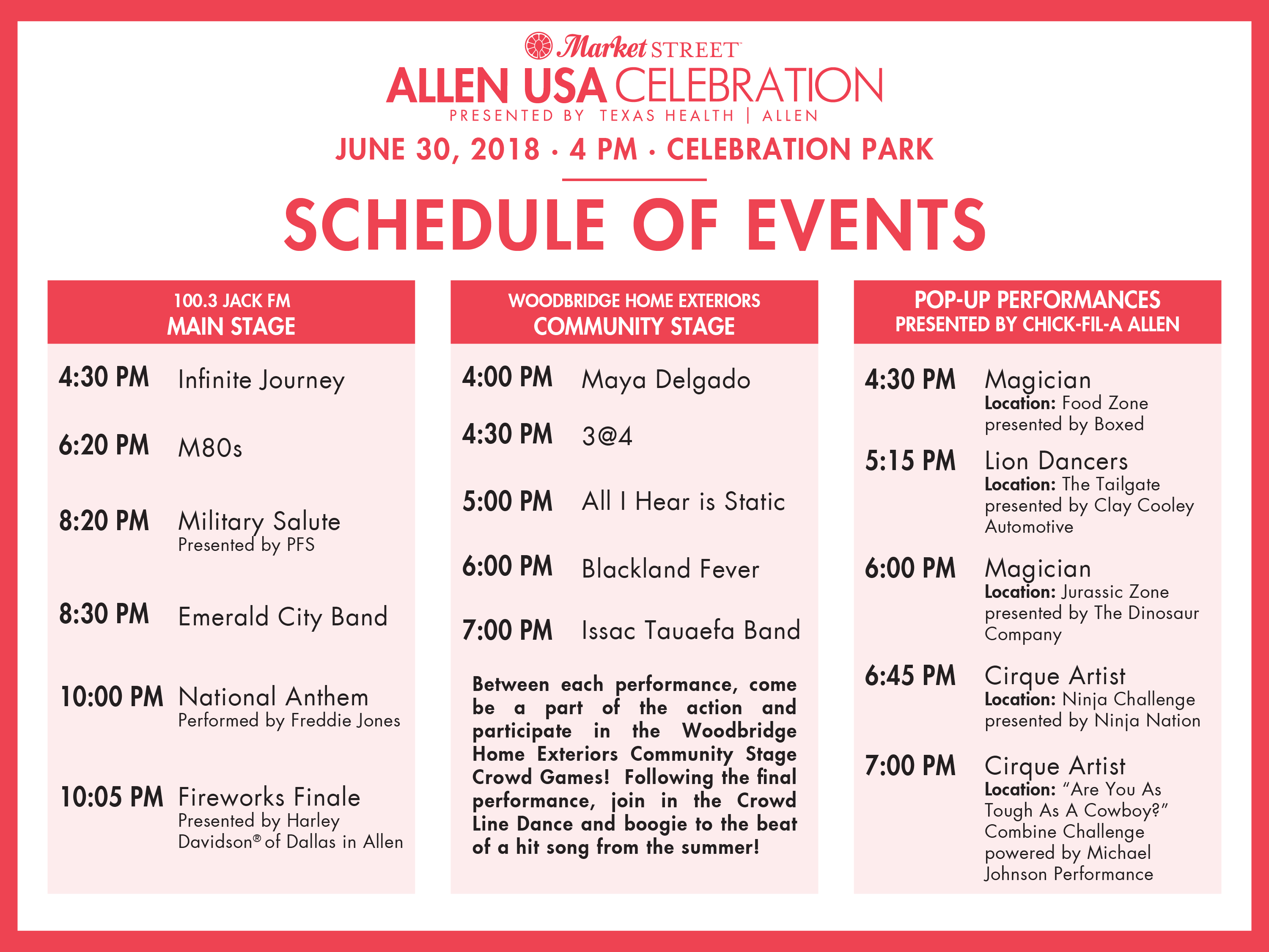 2018 Allen USA Schedule of Events