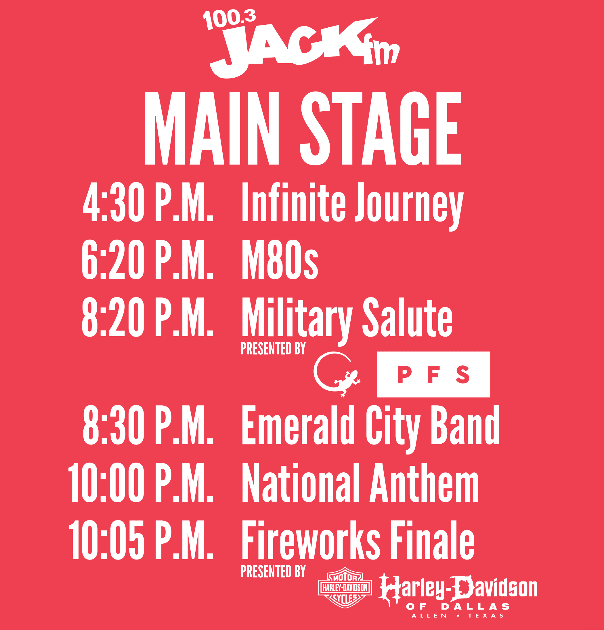 2018 Main Stage Schedule