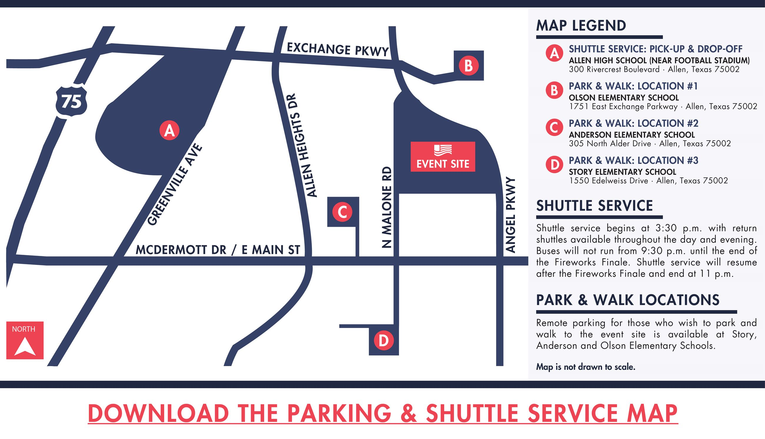 2018 Market Street Allen USA Celebration-Parking and Shuttle Map