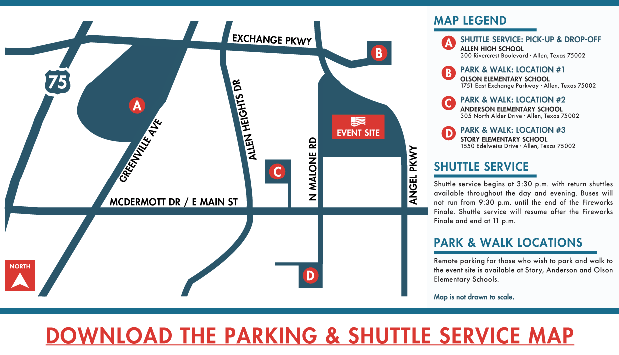 Parking and Shuttle Map (2019 Market Street Allen USA Celebration)
